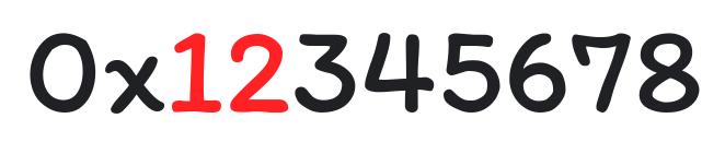 """值 0x12345678,其中""""最高有效比特"""" 12 用红色字体表示"""